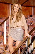 Mini Skirt Framed Prints - Jennifer Lopez Wearing A Haute Hippie Framed Print by Everett