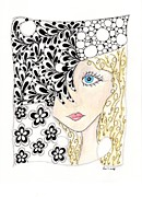 Original Pen And Ink Drawing Prints - Jennifer Print by Paula Dickerhoff