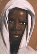 Black Art Pastels Prints - Jeremiah Print by L Cooper