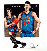 Knicks Drawings Framed Prints - Jeremy Lin Framed Print by Dave Olsen