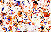 Nba Framed Prints - Jeremy Lin Framed Print by Leon Jimenez