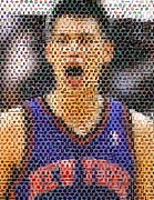 New York Knicks Framed Prints - Jeremy Lin Mosaic Framed Print by Paul Van Scott