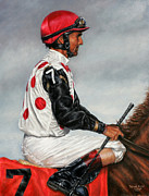 Kentucky Derby Paintings - Jerry Bailey - Silks of Live Oak Plantation by Thomas Allen Pauly