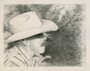 Cowboy Sketches Framed Prints - Jerry Framed Print by Denise Gordon