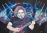 Singer Drawings Framed Prints - Jerry Garcia and Lights Framed Print by Joshua Morton