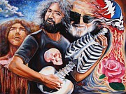 Contemporary Surrealism Prints - Jerry Garcia and the Grateful Dead Print by Darwin Leon