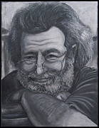 Roll Pastels Framed Prints - Jerry Garcia Framed Print by Dennis Jones