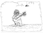 Beards Drawings Prints - Jerry Garcia Print by Michael Mooney