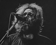 Charcoal Portrait Posters - Jerry Garcia Poster by Steve Hunter