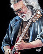 Jerry Framed Prints - Jerry Garcia - The Grateful Dead Framed Print by Tom Carlton