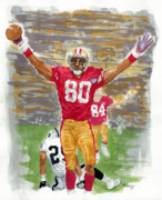 49ers Painting Prints - Jerry Rice The Greatest Print by George  Brooks