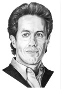 Famous People Drawings - Jerry Seinfeld by Murphy Elliott