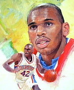 Basketball Abstract Painting Framed Prints - Jerry Stackhouse Framed Print by Cliff Spohn