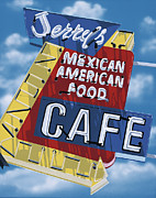 Red Cafe Posters - Jerrys Cafe Poster by Anthony Ross