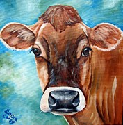 Cows Acrylic Prints - Jersey Girl Acrylic Print by Laura Carey