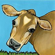 Cows Paintings - Jersey by Leanne Wilkes
