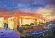 Jerusalem Painting Originals - Jerusalem at night by Sara Kesar