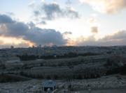 Olives Photo Posters - Jerusalem at Sunset Poster by Dawn Mathews