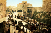 Holy Land Digital Art Prints - Jerusalem Bazaar 1890 Print by Munir Alawi
