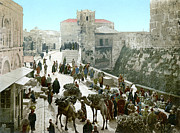 Crowd Scene Art - JERUSALEM: BAZAAR, c1900 by Granger