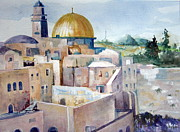 Jerusalem Painting Originals - Jerusalem Cityscape by Karen Liebman