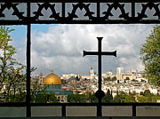 Franciscans Posters - Jerusalem from Dominus Flevit a Franciscan Teardrop Church Poster by Ruth Hager