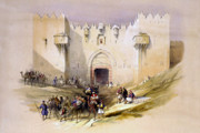 Old Photos Digital Art Framed Prints - Jerusalem Gate Framed Print by Munir Alawi