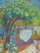 Israel Painting Originals - Jerusalem Grape Arbor by Inge Klimpt