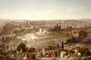 Israel Painting Framed Prints - Jerusalem in her Grandeur Framed Print by Henry Courtney Selous