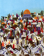 Jerusalem Tapestries - Textiles Metal Prints - Jerusalem Metal Print by Marina Gershman