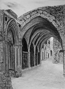 Brick Drawings Metal Prints - Jerusalem old street Metal Print by Marwan Hasna - Art Beat