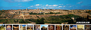 Holy Land Digital Art Framed Prints - Jerusalem Panorama Framed Print by Munir Alawi