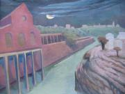 Jerusalem Painting Originals - Jerusalem Railroad Station in Moonlight by Inge Klimpt