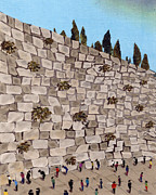 Jerusalem Tapestries - Textiles Metal Prints - Jerusalem Wailling Wall Metal Print by Marina Gershman