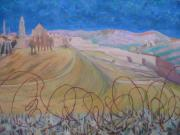 Jerusalem Painting Metal Prints - Jerusalem with Barbed Wire Metal Print by Inge Klimpt