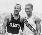 Track And Field Prints - Jesse Owens 1913-1980 With Ralph Print by Everett
