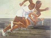 Hitler Paintings - Jesse Owens 1936 Olympics by Chuck Hamrick