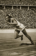 Olympian Photo Framed Prints - Jesse Owens Framed Print by American School