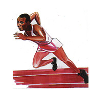 Berlin Drawings Prints - Jesse Owens Print by Emmanuel Baliyanga
