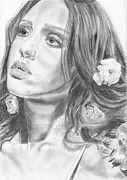Jessica Alba Drawings Originals - Jessica Alba by Annie GODET