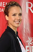 Hair Bun Posters - Jessica Alba At A Public Appearance Poster by Everett