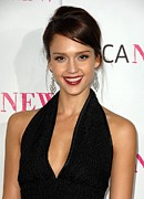 Dangly Earrings Framed Prints - Jessica Alba At Arrivals For Moca 30th Framed Print by Everett