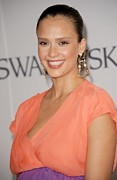 Gold Earrings Framed Prints - Jessica Alba At Arrivals For The 2011 Framed Print by Everett