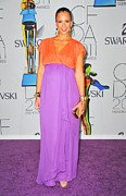 Coral Dress Art - Jessica Alba Wearing A Custom Diane Von by Everett