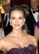 Red Carpet Prints - Jessica Alba Wearing Cartier Earrings Print by Everett