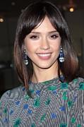 Drop Earrings Metal Prints - Jessica Alba Wearing Vintage Earrings Metal Print by Everett