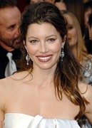 Diamond Earrings Framed Prints - Jessica Biel At Arrivals For 81st Framed Print by Everett