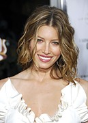 Pink Lipstick Framed Prints - Jessica Biel At Arrivals For La Framed Print by Everett