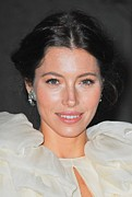 Diamond Earrings Framed Prints - Jessica Biel  Wearing Fred Leighton Framed Print by Everett