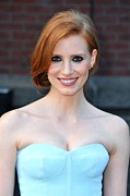 Strapless Dress Prints - Jessica Chastain At Arrivals For The Print by Everett